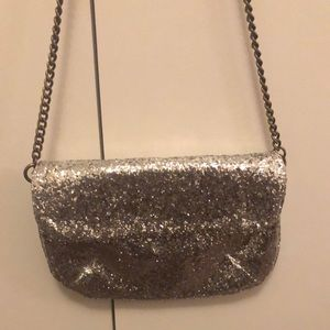 NWT J.Crew Silver Glitter Evening Crossbody